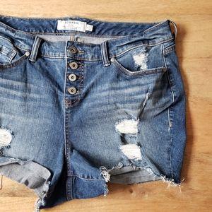 Torrid Denim Fray Distressed Shorts 18 Plus Jean